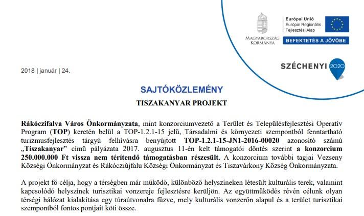 Sajtóközlemény a projekt indításáról